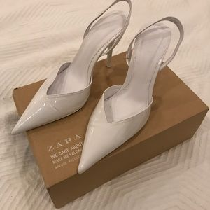 Patent White slingback heels